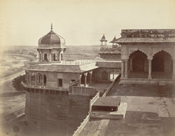 [Diwan-i-Khas & terrace with Samman Burj on left]. King's Palace, Agra Fort.